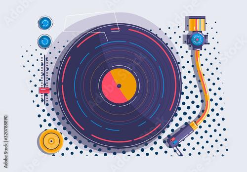 Cuadros en Lienzo Illustration of a Vinyl player with pop art details top view