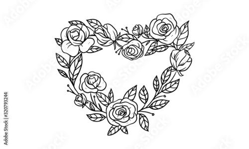 rose composition Arrangement for wedding invitation design, plants and flowers for elegant lettering frame, hand drawn vector illustration for romantic and vintage design #320793244