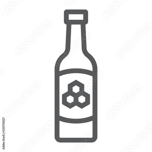 Stampa su Tela Mead line icon, st patrick's day and alcohol, honey sign, vector graphics, a linear pattern on a white background, eps 10