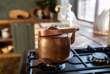 Metal Copper Teapot On A Gas S...