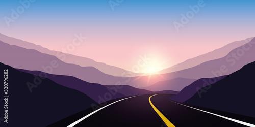 asphalt highway between the mountains travel landscape vector illustration EPS10