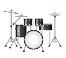 Modern Drum Set On White Backg...