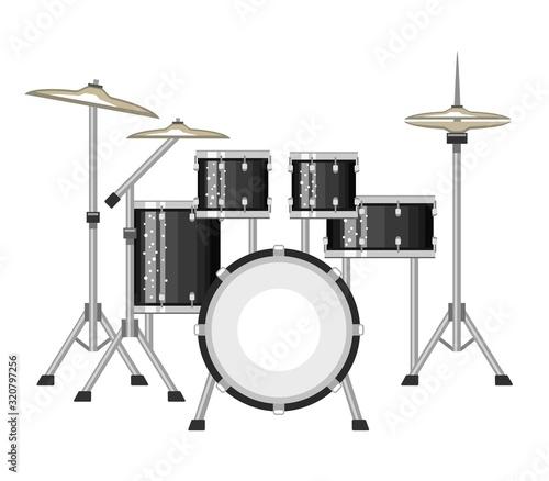 Tableau sur Toile Modern drum set on white background