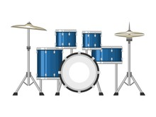 Professional Drum Set On White...