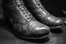 Old Used Boots Made Of Genuine...