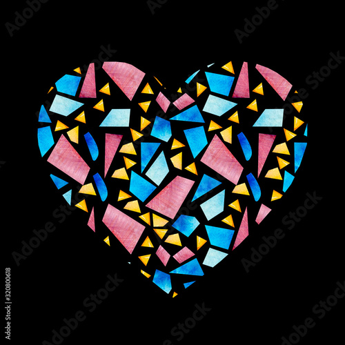 Photo Heart shape made of stained glass pattern