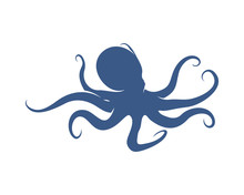 Octopus Logo Vector Template. Isolated Octopus Design On White Background. Illustration