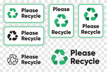 Please Recycling Sign For Public Places. Recycle Green Arrows Pictogram. Isolated Vector Illustration On Transparent Background