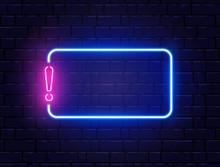 Neon Quiz Banner. Glowing Excl...