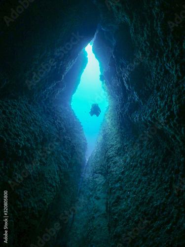 Obraz na plátně Plongée caverne à Marseille, France