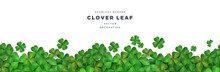 Clover Shamrock Leaf Seamless Border Vector Template For St. Patrick's Day Event Celebration