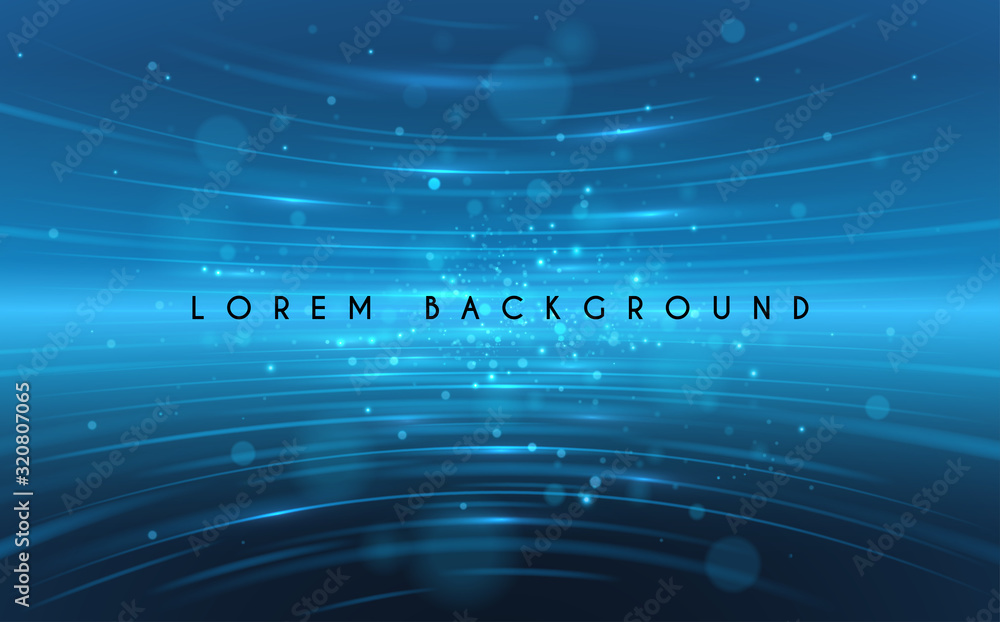 Fototapeta Abstract blue light lines background