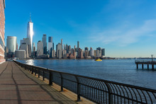 Jersey City Waterfront With The Lower Manhattan New York City Skyline