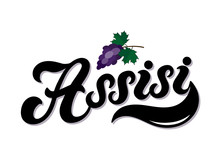 Assisi. The Name Of The Italian City In The Region Of Umbria. Hand Drawn Lettering. Vector Illustration. Best For Souvenir Products.