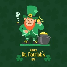 Saint Patricks Day With Treasure Of Leprechaun Vector Illustration. Pot Full Of Golden Coins, Leprechaun In Green Hat And Cloths, Shamrock On Blurred Green Background. Happy St Patricks Day.