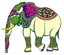 Indian Elephant Decorated In T...
