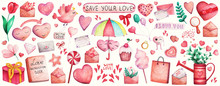 Valentines Day Hand Drawn Wate...