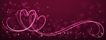 Hand-Drawn Vector Interlocking Pink Neon Hearts With Copy Space On Purple Background