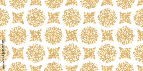 Golden seamless pattern with geometric reef corals Fototapeta