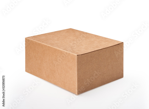 Obraz Brown blank paper box isolated on white background, clipping path - fototapety do salonu