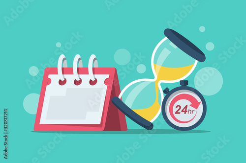 Obraz Duration concept. Vector illustration cartoon design. Calendar stopwatch and hourglass isolated on background. Time flat icon. - fototapety do salonu