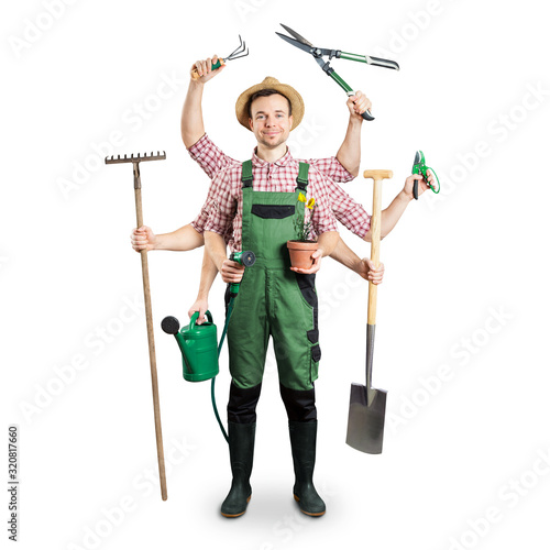 Fotografia Gardener with multiple arms and tools isolated on white