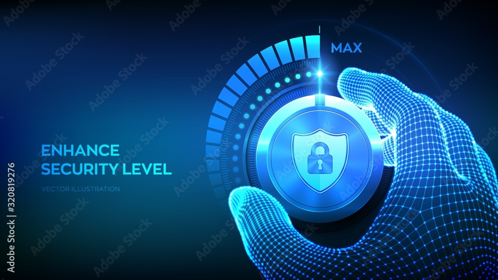 Fototapeta Cyber security levels knob button. Increasing data protection level. Wireframe hand turning a secure test knob to the maximum position. Information or network security concept. Vector illustration.