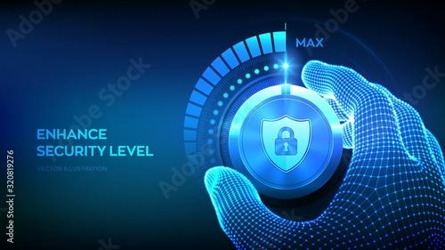 Obraz na plátně Cyber security levels knob button
