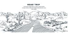 Desert And Mountains Road Landscape. Vector Sketch Illustration. Nature Environment And Travel Hand Drawn Background