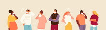 Group Of Sick People In Masks. Global Epidemic Vector Illustration