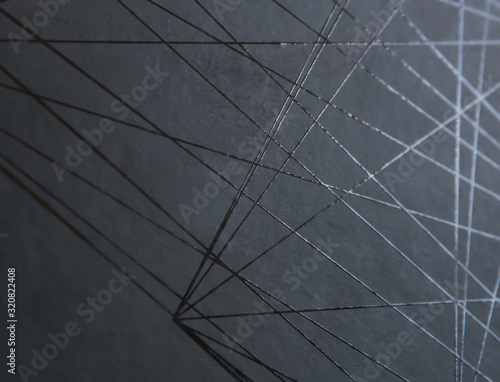 Black background with straight abstract black shiny lines Wallpaper Mural