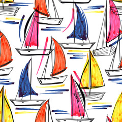 Fototapeta Marynistyczny Beautiful trendy Hand drawn brush stroke of ship,wind surf ,boat on the ocean summer vibes seamless pattern in vector EPS10