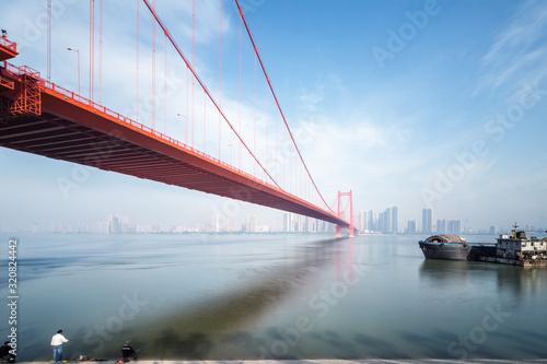 Fotografie, Obraz yingwuzhou yangtze river bridge in wuhan