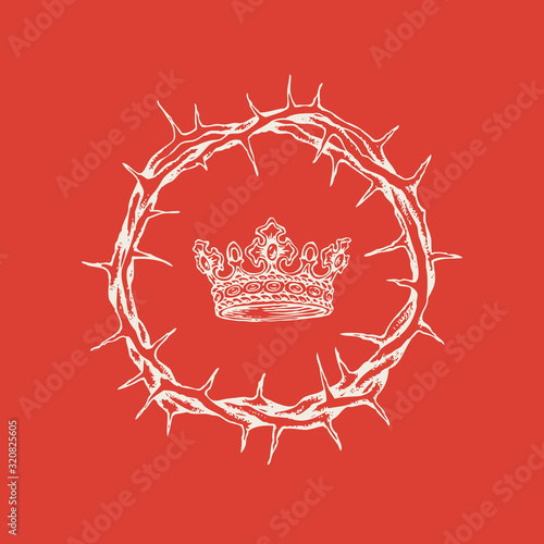 Cuadros en Lienzo Vector religious banner on the theme of Easter with a crown of thorns and a crown on a red background