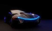 3D Futuristic Car Model In The...