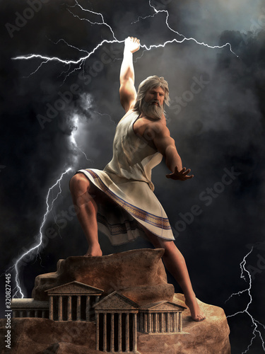 Cuadros en Lienzo Zeus, the king of the Greek gods, stands upon Mount Olympus ready to hurl lightning bolts down upon the earth and mankind