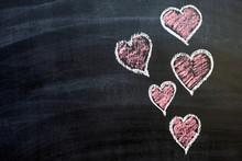 Chalkboard Art. Pink Hearts, V...