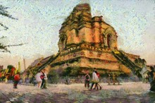 Ancient Pagoda Illustrations Creates An Impressionist Style Of Painting.