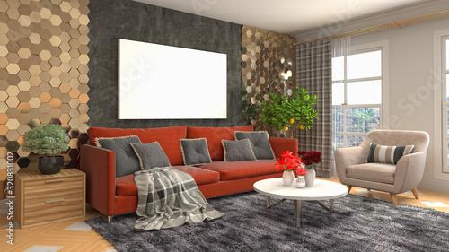 Fototapety, obrazy: mock up poster frame in interior background. 3D Illustration