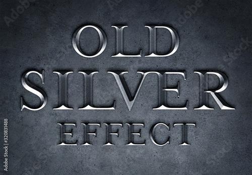Fototapeta Old Silver Text Effect Mockup obraz