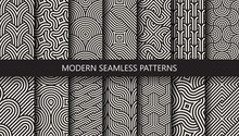 Vector Set Of 14 Geometric Linear Patterns. Collection Of Seamless Modern Textures For Your Design.