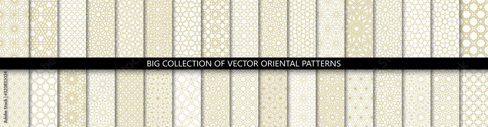 Fototapeta Big set of 34 different vector ornamental seamless patterns. Collection of geometric patterns in the oriental style. Patterns added to the swatch panel.