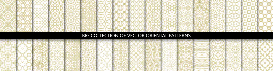 Big set of 34 different vector ornamental seamless patterns. Collection of geometric patterns in the oriental style. Patterns added to the swatch panel.