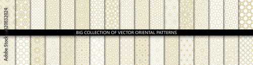 Photo Big set of 34 different vector ornamental seamless patterns