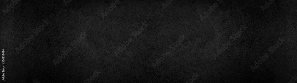 Fototapeta Black dark rustic leather texture - Background banner panorama long