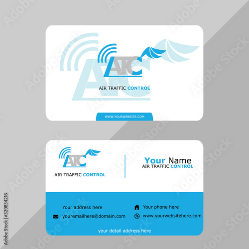 Fototapeta Aviation name card template vector for pilot and air traffic controller