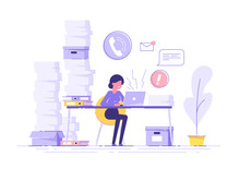 Tired Young Woman Working On Her Laptop Among Piles Of Papers And Documents. Stress In The Office. Rush Work. Modern Vector Illustration.