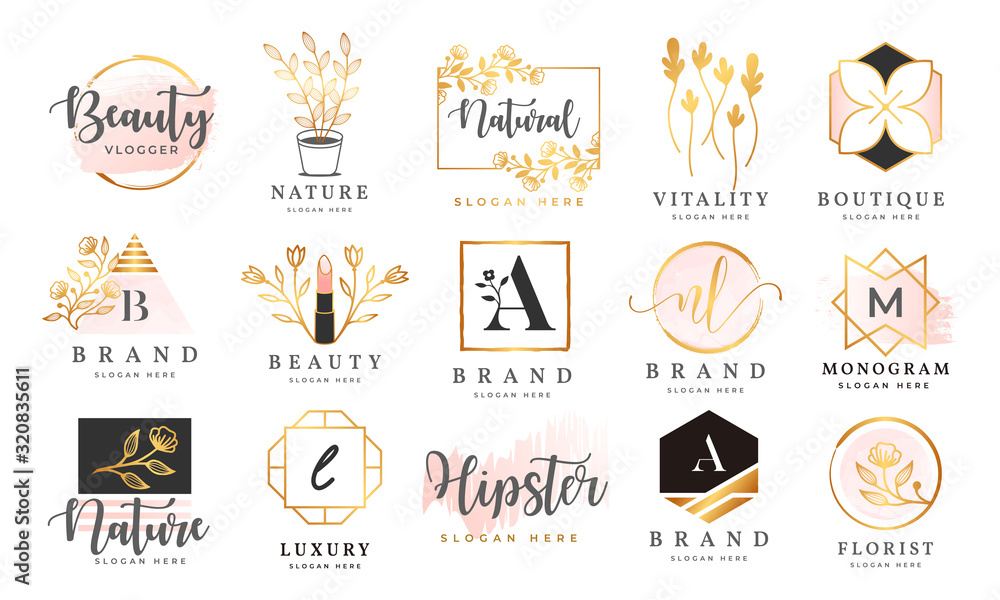 Fototapeta Feminine logo collections template premium vector