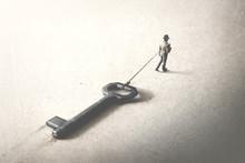 Man Dragging A Big Heavy Key, ...