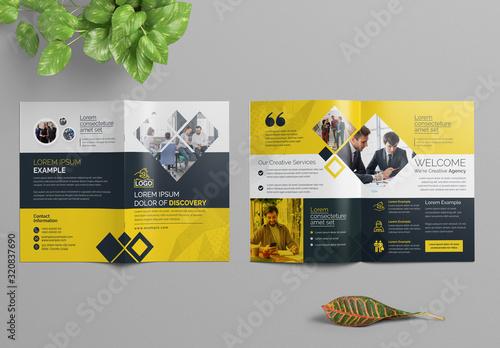 Fototapeta Orange Corporate Bifold Brochure Layout obraz